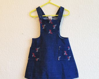 Vintage 1970s Origami Nautical Pinafore Denim style Dress 3-4y