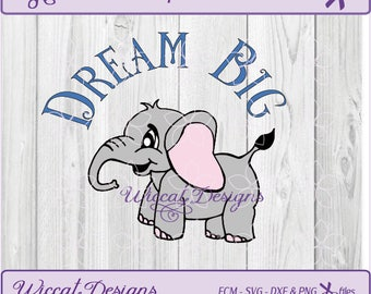 Elephant svg, Dream big svg, nursery svg, safari svg, fcm files,  scanncut, newborn svg, vinyl cut file, svg for cricut, svg for babies