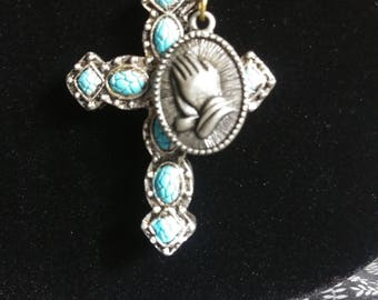 """TURQUOISE BLUE CROSS Pendant with attached small silver """"praying hands"""" charm !"""