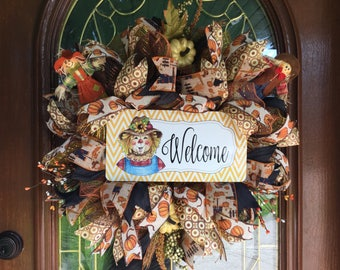 Fall Scarecrow Welcome Deco Mesh Wreath for Front Door