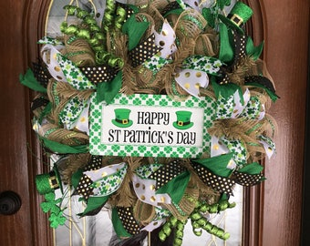 St. Patrick's Day Deco Mesh Irish Wreath for Front Door