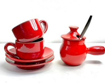 Vintage French Red Espresso Set, Espresso Service Set, Coffee Service, Cup with Saucer, Espresso Cup, Teacup, Coffee Cup, Mid Century Modern