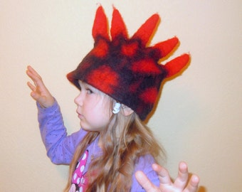 Dragon hat Black and red Childrens dragon hat Hand made felt hat Felted wool hat