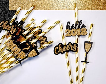 24 New Year 2018 Straws, NYE Paper Straws, NYE Party, Hello 2018, New Years Eve, 2018 Party, 2018 Decor, New Year 2018, New Years Eve Decor