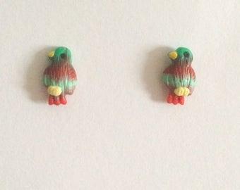 Vintage 1980's Red Green Blue Silver Dainty Cute Birds Kitsch Stud Earrings