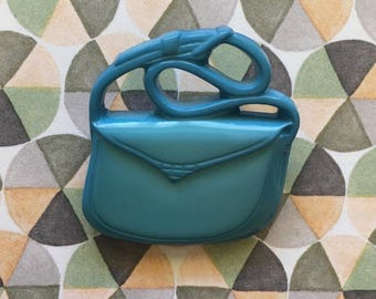 80's Retro plastic handbag brooch