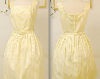 1950's/60's BERNIE SOBIEL California Yellow Striped Summer Dress / Summer Party Dress / Mad Men / Rare Collectable Retro
