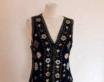 Vintage 70's  Embroidered Waistcoat, Folk Vest, Boho Vest,  Bohemian Vest, Hippy Vest