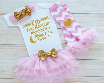 Baby Girl Outfit, Baby Girl Take Home Outfit, Baby Coming Home Outfit, Newborn Outfit, Mommy Daughter Shirt, Baby Shower Gift, Infant Outfit
