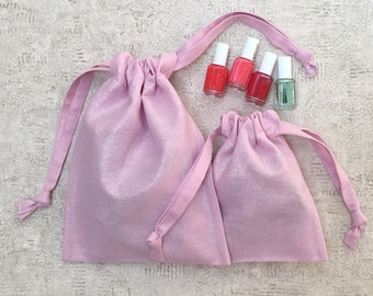 smallbags canvas Pink Silver reflections - 2 sizes - reusable cotton bag - zero waste