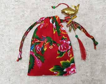 fabric smallbags Chinese Red peonies - 2 sizes - reusable cotton bag - zero waste