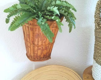 Vintage Long Shallow Wicker Wall Plant Holder