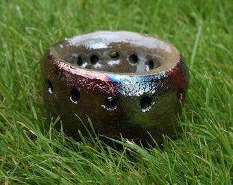 Wheel Thrown Raku Pot with Reduction Glaze