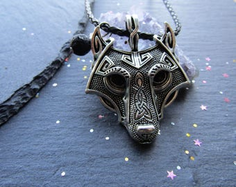 Norse Wolf Necklace with a Volcanic Lava Bead, Viking Wolf Necklace, Wolf Jewelry, Norse, Wolf Necklace, Viking, Men Jewelry, Gift for Him