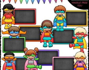 Colorful Chalkboard Superhero Kids Clip Art and B&W Set