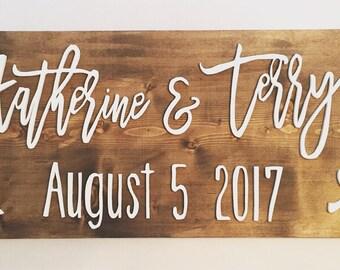 wedding date sign, custom wedding name, custom name sign, wood name sign, 3D, established sign