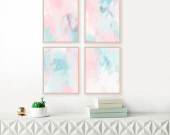 Set of 4 Prints, Pink and Mint Abstract Art, Gallery Wall Set, Four Large Pink Abstract Paintings, Printable Art, Original Art