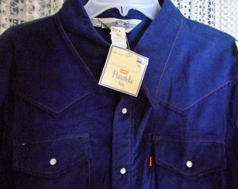 Rare vintage Shirt 70's      by LEVIS PANATELA     Blue cord,     his or hers,    Never Worn,     Still  with tags super cool