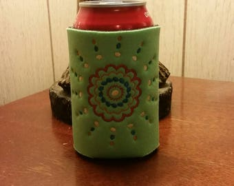 Lime Green Can Cooler, Embroidered Can Cooler, Birthday Cozies, Embroidery Can Cooler, Green Cozies, Doodle Can Cooler, Flower Can Cooler