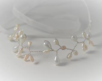 Pearl Wedding Cuff,Delicate Vine Ribbon Bracelet, Boho Wedding Jewelry , Freshwater Pearl bracelet,Bridal bracelet,wedding bracelet