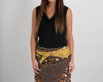 Reversible Cotton Skirt Brown Orange Green Print Orange Print Detachable Pocket Medium Length