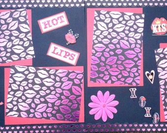 Love Valentine two pre-made scrapbook pages by Juliet 12x12