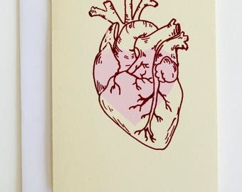 Anatomical heart fold-over blank greeting card