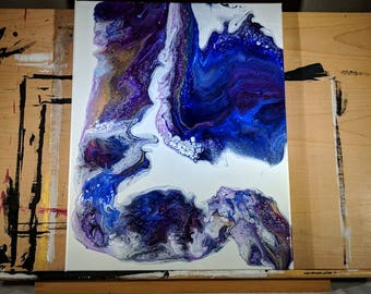 "16"" x 20"" Fluid Acrylic Original Abstract Painting - Blue, Purple, Gold"