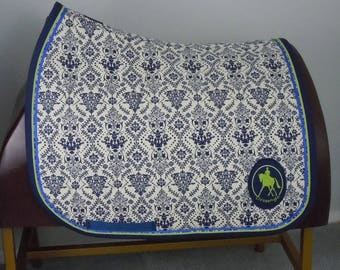 """Navy and Cream Damask Print Dressage Saddle Pad fits up to 18"""" saddles READY TO SHIP"""
