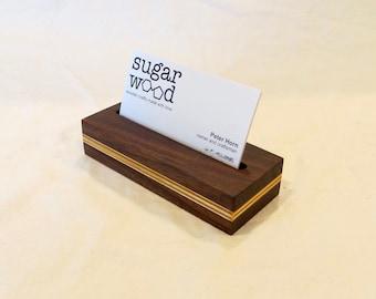 Walnut and birch business card stand, v2