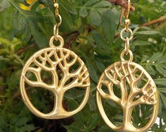 Tree of Life Earrings, Tree Earrings, Gold Tree of Life Earrings, Tree of Life Jewelry, Gold Tree Earrings. Gold Dangle Tree Earrings