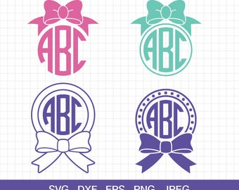 Bow Monogram SVG Cut files, Bow svg, Girl Bow svg, svg files for Cricut, cut files for Silhouette Cameo, svg files
