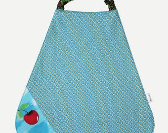 Bib elasticated Terry and cotton printed geometric and cherry