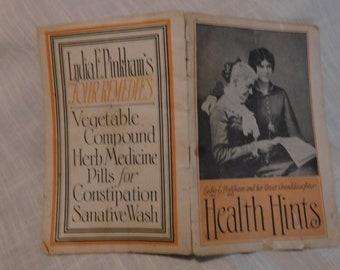 "1926 Lydia Pinkham ""Health Hints"" advertising booklet"