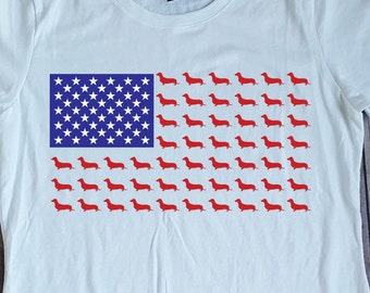 Ladies Dachshund Stars and Stripes American Flag Fourth of July Patriotic T-shirt Design
