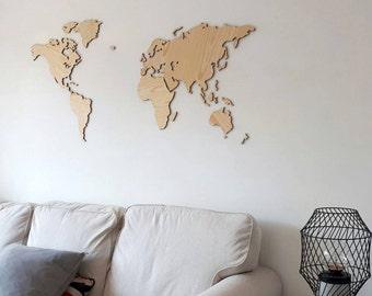 World map of wood