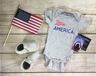 Little Miss America Onesie®, First 4th of july baby outfit, First fourth of july outfit, baby girl outfit, fourth of july, my first fourth