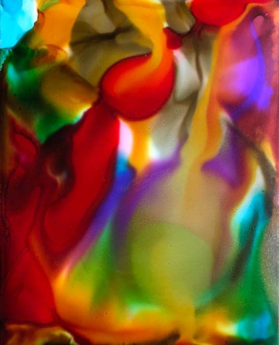 """Original Alcohol Ink Abstract Painting: """"Lost In The Funhouse"""" (11"""" X 14"""")"""