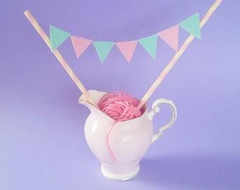 Pretty pastel cake bunting / mini felt bunting / cake topper bunting / cake toppers / birthday cake bunting / baby shower / bespoke bunting