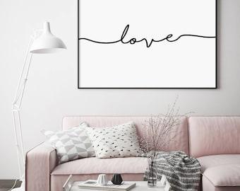 Love Landscape Print, Love Landscape, Love Poster, Love Script, Handwritten Print, Modern Typography, Minimalist, Affiche Scandinave