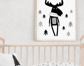 Christmas Gift, Deer Wall Art, Woodland Baby Theme, Scandinavian Kids Decor, Cute Deer Decor, Modern Nursery Decor, Monochrome Kids Room