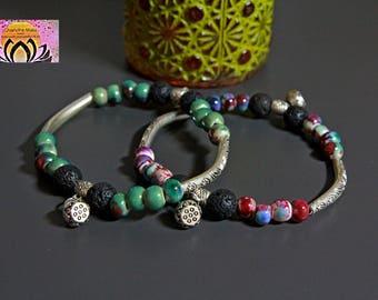 Porcelain Ceramic Lava Diffuseur Stretchy Bracelet Set-Lotus-Boho Chic Ethnic Yoga Jewelry-Aromatherapy-Beaded Bracelet-Gift for Her