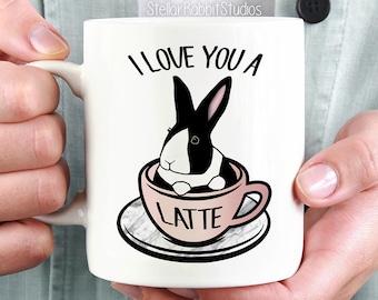 Bunny Mug, I LOVE YOU A Latte Coffee Mug, Bunny in Latte Cup - Dutch Bunny - Dutch Rabbit - Bunny Mug - Cute Mug - Funny Mug - Tea Cup