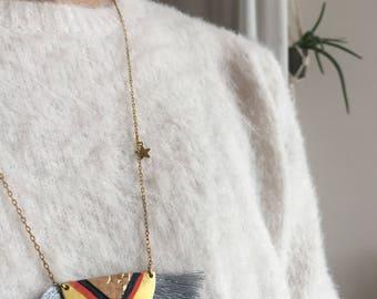 Necklace-necklace-KACHINA-ethnic-leather fringe Cork