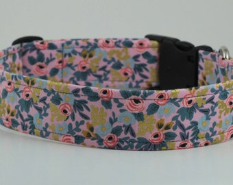 Rosa Floral in Pink with Gold Metallic Dog Collar