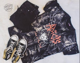 Adicts distressed shirt - Reworked punk band tee - Bleached shirt