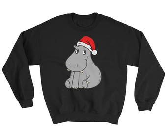 Funny Hippopotamus Christmas Sweatshirt Cute Baby Hippopotamus Christmas Sweatshirt with Xmas Santa Hat