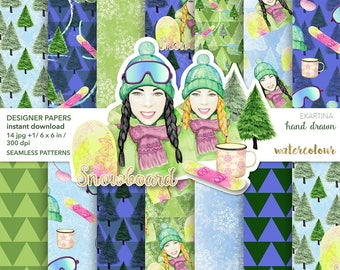 Winter Sport Planner Girl Designer Papers,Snowboarding Fashion Girl Paper pack,digital papers,Snowtree Seamless Pattern,Printable Planner