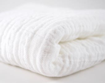 """Double Gauze Fabric White - half yard - Sunny Double Gauze - 100% cotton muslin, 52"""" wide - perfect for making baby swaddle blankets"""