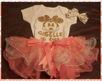 Minnie Mouse Birthday TUTU Set with Onesie or Tee and Comes With Custom Matching Bow